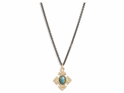 "Collection: Old World Style #: 04362 Description: Blackened sterling silver 18"" chain with 18k yellow gold oval opal and white diamond cravelli cross drop. Diamond Weight 0.064 ct.Metal: .925 Sterling SilverS/18k Yellow Gold"