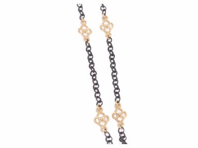 "Collection: Old World Style #: 02752 Description: Old World 16"" cable chain with Yellow Gold scroll components with /Old World toggle.Metal: .925 Sterling Silver/18k Yellow Gold"