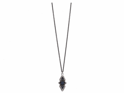 "Collection: Old World Style #: 11918 Description: New World blackened sterling silver/sterling silver 16""-18"" multi-stone drop necklace with Australian Black Opal/White Quartz doublets and champagne diamonds. Diamond Weight 0.16ct"