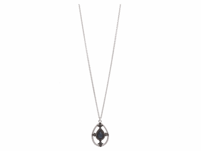 "Collection: Old World Style #: 11839 Description: New World blackened sterling silver/sterling silver 16""-18"" large open pear pendant necklace with Australian Black Opal/White Quartz doublet and champagne diamonds. Diamond Weight 0.24ct"
