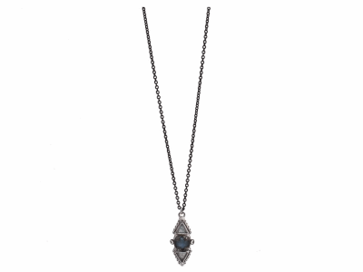 "Collection: Old WorldStyle #: 11922Description: New World blackened sterling silver/sterling silver 16""-18"" multi-stone drop necklace with Blue Quartz/Labradorite/White Quartz triplets and champagne diamonds. Diamond Weight 0.16ct"