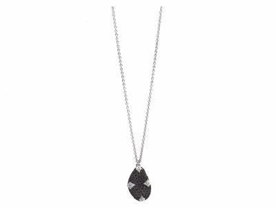 "Collection: Old WorldStyle #: 11928Description: New World blackened sterling silver/sterling silver 18""-20"" 23mm crivelli pave bean-shaped necklace with black sapphires and champagne diamonds. Diamond Weight 0.03ct"