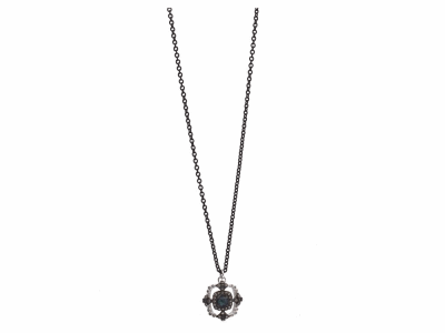 "Collection: Old WorldStyle #: 12020Description: New World blackened sterling silver/sterling silver 18""-20"" small crivelli open square drop necklace with 4x4 cushion-cut Australian Black Opal/White Quartz doublet and champagne diamonds. Diamond Weight 0.26ct"