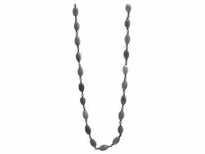 "Collection: Old World Style #: 10959 Description: Old World Midnight 40"" all-black faceted Labradorite beaded necklace."