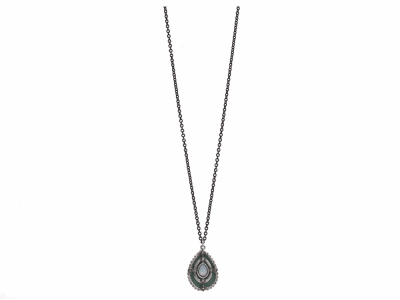 """Collection: Old World Style #: 12865 Description: New World blackened sterling silver/sterling silver 16""""-18"""" 37mm crivelli pave scroll necklace with champagne diamonds and black spinel."""
