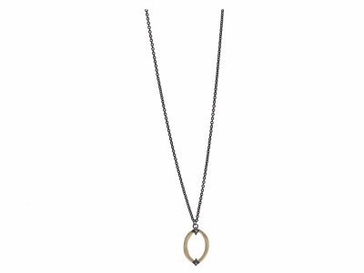 "Collection: Old World Style #: 11792 Description: Old World blackened sterling silver/18k yellow gold 18""-20"" small oval drop necklace with champagne diamonds. Diamond Weight 0.05ct"