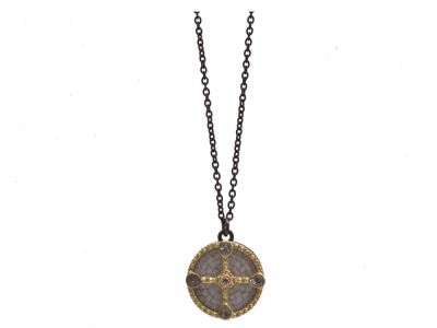 "Collection: Old World Style #: 12592 Description: Old World blackened sterling silver/18k yellow gold 16""-18"" 17mm round shield White Mosaic drop necklace with white diamonds and white sapphires."