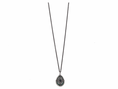 "Collection: Old World Style #: 12017 Description: New World blackened sterling silver/sterling silver 18""-20"" teal mosaic pear drop necklace with Australian Black Opal/White Quartz doublet and champagne diamonds. Diamond Weight 0.19ct"