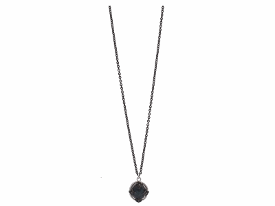 "Collection: Old World Style #: 11954 Description: New World blackened sterling silver/sterling silver 16""-18"" oval crivelli pave drop necklace with Australian Black Opal/White Quartz doublet and champagne diamonds. Diamond Weight 0.11ct"