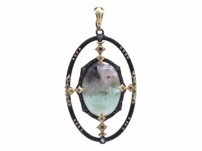Collection: Old World Style #: 13797 Description: Old World blackened sterling silver/18k yellow gold large open 23.5x16.5mm oval Aquaprase cabochon enhancer with champagne diamonds and white sapphires. Diamond weight - 0.33 ct.Metal: .925 Sterling Silver/18k Yellow Gold