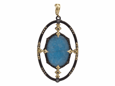 Collection: Old World Style #: 13913 Description: Old World blackened sterling silver/18k yellow gold large open 23.5x16.5mm oval Blue Quartz/Labradorite/White Quartz triplet enhancer with champagne diamonds and white sapphires. Diamond weight - 0.33 ct.Metal: .925 Sterling Silver/18k Yellow Gold
