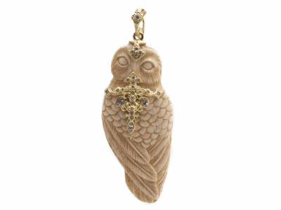 Collection: Old World Style #: 13819 Description: Old World blackened sterling silver/18k yellow gold carved Bovine bone Owl enhancer with white diamonds and white sapphires. Diamond weight - 0.13 ct.Metal: .925 Sterling Silver/18k Yellow Gold