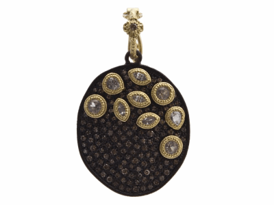 Collection: Old World Style #: 12493 Description: Old World blackened sterling silver/18k yellow gold large bezel-cluster pave oval enhancer with champagne diamonds and white sapphires.