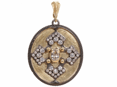 Collection: Old World Style #: 22770 Description: Old World Midnight 34x30 oval pointed iris enhancer w/ white sapphires and champagne diamonds.Metal: .925 Sterling Silver/18k Yellow Gold
