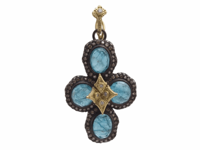 Collection: Old World Style #: 12593 Description: Old World blackened sterling silver/18k yellow gold pave bezel-set flower cross enhancer with Neon Apatite/White Quartz doublet and champagne and white diamonds.
