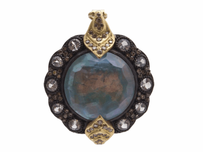 Collection: Old World Style #: 12581 Description: Old World blackened sterling silver/18k yellow gold 16mm round Hermes enhancer with Peruvian Opal/White MOP/White Quartz triplet, champagne diamonds and white sapphires.