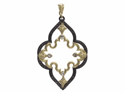 Collection: Old World Style #: 11701 Description: Old World blackened sterling silver/18k yellow gold 50mm long open scroll enhancer with white and champagne diamonds and white sapphires. Diamond Weight 0.37ct