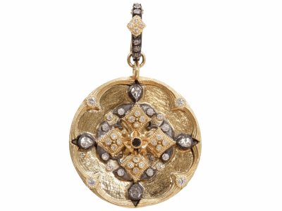 Collection: Old World Style #: 02355 Description: Heraldry 30mm round shield enhancer with scalloped edges, diamonds, and sapphires on Old World cravelli huggie bail.Metal: .925 Sterling SilverS/18k Yellow Gold