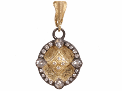 Collection: Old World Style #: 02307 Description: Old World oval shield drop enhancer with pear sapphires and diamonds.Metal: .925 Sterling SilverS/18k Yellow Gold