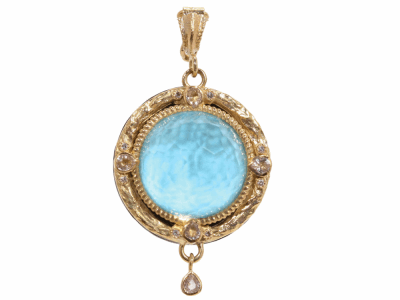 Collection: Old WorldStyle #: 02231Description: Old World round enhancer with quartz/turquoise doublet sapphires and diamonds.Metal: .925 Sterling SilverS/18k Yellow Gold