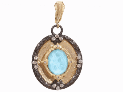 Collection: Old World Style #: 02534 Description: Yellow gold and Midnight shield enhancer with turquoise and quartz and diamonds.Metal: .925 Sterling SilverS/18k Yellow Gold