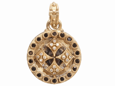 Collection: Old World Style #: 02408 Description: Heraldry 22mm round shield drop enhancer with gold backing & with green amethyst, black diamonds, white diamonds.Metal: .925 Sterling SilverS/18k Yellow Gold