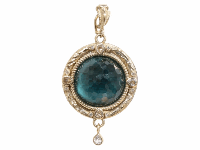 Collection: Old World Style #: 03229 Description: Old World round enhancer with malachite/London Blue topaz doublet sapphires and diamonds.Metal: .925 Sterling SilverS/18k Yellow Gold