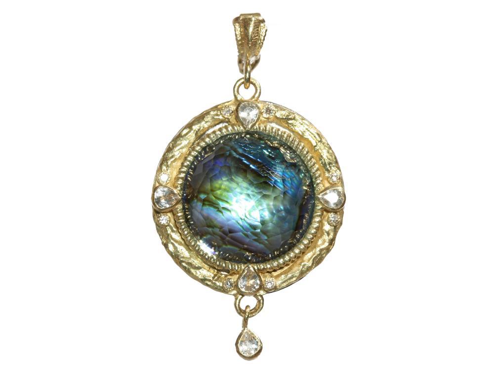 Armenta Old World Midnight Round Enhancer with Diamonds & Sapphires cpVHvCs