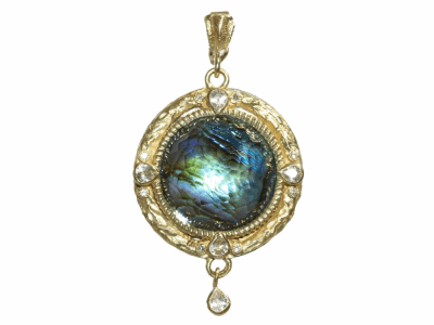 Collection: Old World Style #: 03746 Description: Midnight 16mm round enhancer with Blue Mother of Pearl/Rose of France doublet and sapphires and diamonds.Metal: .925 Sterling SilverS/18k Yellow Gold