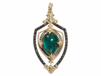 Collection: Old World Style #: 03557 Description: Blackened sterling silver and 18k yellow gold open shield enhancer with Malachite/London Blue topaz pear doublet and black and white diamonds.Metal: .925 Sterling SilverS/18k Yellow Gold