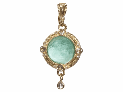 Collection: Old World Style #: 05427 Description: Blackened sterling silver and 18k yellow gold 12mm round green turquoise enhancer with diamonds & sapphires. Diamond Weight 0.03 ct.Metal: .925 Sterling SilverS/18k Yellow Gold