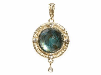 Collection: Old World Style #: 06317 Description: Blackened sterling silver and 18k yellow gold 16mm round enhancer with Blue Mother of Pearl/Blue Topaz doublet and sapphires and diamonds.Metal: .925 Sterling SilverS/18k Yellow Gold