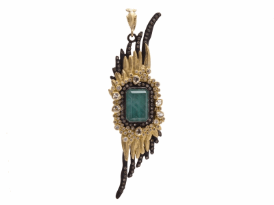 Collection: Old World Style #: 8355 Description: Old World blackened sterling silver/18k yellow gold large feather enhancer with Malachite/Rainbow Moonstone doublet, white and champagne diamonds and white sapphires.Metal: .925 Sterling Silver/18k Yellow Gold