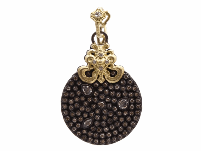 Collection: Old World Style #: 94490 Description: Old World blackened sterling silver/18k yellow gold pave round drop enhancer with white and champagne diamonds and white sapphires.Metal: .925 Sterling Silver/18k Yellow Gold