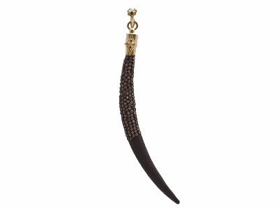Collection: Old World Style #: 92190 Description: Old World blackened sterling silver/18k yellow gold large pave curved horn enhancer with champagne diamonds.Metal: .925 Sterling Silver/18k Yellow Gold