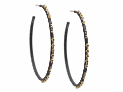 Collection: Old World Style #: 13229 Description: Old World blackened sterling silver/18k yellow gold 52mm multi-crivelli and eternity diamond hoop earring with champagne diamonds. Diamond weight - 0.18 ct.Metal: .925 Sterling Silver/18k Yellow Gold
