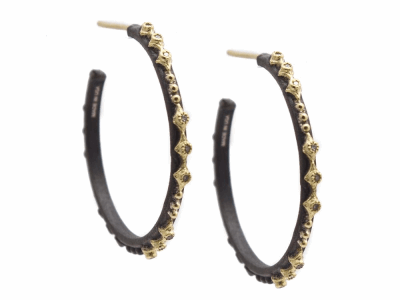Collection: Old World Style #: 13227 Description: Old World blackened sterling silver/18k yellow gold 25mm multi-crivelli and eternity diamond hoop earring with champagne diamonds. Diamond weight - 0.11 ct.Metal: .925 Sterling Silver/18k Yellow Gold