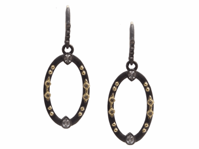 Collection: Old World Style #: 13305 Description: Old World blackened sterling silver/18k yellow gold small 22mm multi-crivelli oval drop earring with champagne diamonds and white sapphires. Diamond weight - 0.1 ct.Metal: .925 Sterling Silver/18k Yellow Gold