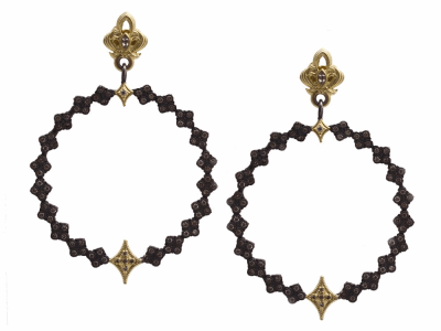Collection: Old World Style #: 13309 Description: Old World blackened sterling silver/18k yellow gold multi-crivelli open round earrings with champagne diamonds and white sapphires. Diamond weight - 1.19 ct.Metal: .925 Sterling Silver/18k Yellow Gold