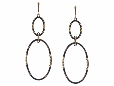 Collection: Old World Style #: 13308 Description: Old World blackened sterling silver/18k yellow gold 47x27mm multi-crivelli double-oval drop earring with champagne diamonds. Diamond weight - 0.36 ct.Metal: .925 Sterling Silver/18k Yellow Gold