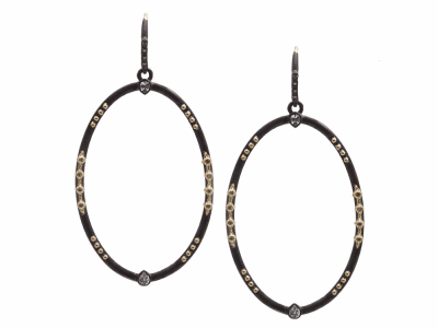 Collection: Old World Style #: 13307 Description: Old World blackened sterling silver/18k yellow gold large 45mm multi-crivelli oval drop earring with champagne diamonds and white sapphires. Diamond weight - 0.14 ct.Metal: .925 Sterling Silver/18k Yellow Gold