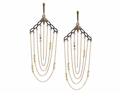 Collection: Old World Style #: 13320 Description: Old World blackened sterling silver/18k yellow gold crivelli gold multi-chain earring with champagne diamonds. Diamond weight - 0.23 ct.Metal: .925 Sterling Silver/18k Yellow Gold