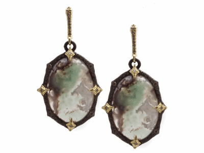 Collection: Old World Style #: 13323 Description: Old World blackened sterling silver/18k yellow gold 23.5x16.5mm oval crivelli earring with Aquaprase cabochon and white and champagne diamonds. Diamond weight - 0.55 ct.Metal: .925 Sterling Silver/18k Yellow Gold