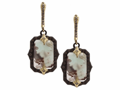 Collection: Old World Style #: 13322 Description: Old World blackened sterling silver/18k yellow gold 13x9mm emerald-cut crivelli drop earring with Aquaprase and champagne diamonds. Diamond weight - 0.43 ct.Metal: .925 Sterling Silver/18k Yellow Gold