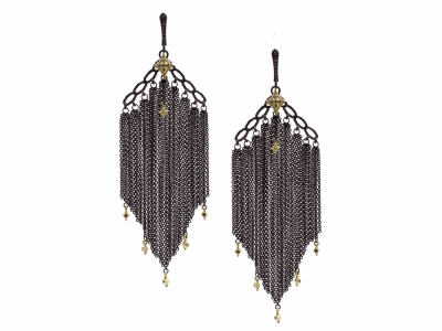 Collection: Old World Style #: 13321 Description: Old World blackened sterling silver/18k yellow gold crivelli black multi-chain earring with champagne diamonds. Diamond weight - 0.23 ct.Metal: .925 Sterling Silver/18k Yellow Gold