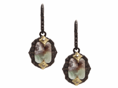 Collection: Old World Style #: 13358 Description: Old World blackened sterling silver/18k yellow gold 9x7mm emerald-cut crivelli drop earring with Aquaprase and champagne diamonds. Diamond weight - 0.36 ct.Metal: .925 Sterling Silver/18k Yellow Gold