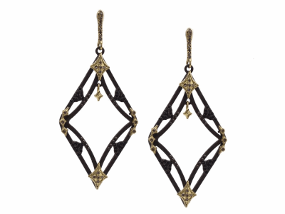 Collection: Old World Style #: 13357 Description: Old World blackened sterling silver/18k yellow gold open double-crivelli earring with champagne diamonds and black sapphires. Diamond weight - 0.2 ct.Metal: .925 Sterling Silver/18k Yellow Gold
