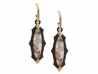 Collection: Old World Style #: 13325 Description: Old World blackened sterling silver/18k yellow gold scalloped 24x6mm marquis Aquaprase cabochon earring with white and champagne diamonds on diamond huggie. Diamond weight - 0.57 ct.Metal: .925 Sterling Silver/18k Yellow Gold