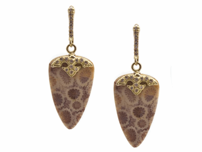Collection: Old World Style #: 13376 Description: Old World blackened sterling silver/18k yellow gold 24.44mm natural Fossilized Coral drop earring with white diamonds. Diamond weight - 0.2 ct.Metal: .925 Sterling Silver/18k Yellow Gold