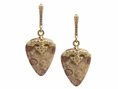 Collection: Old World Style #: 13374 Description: Old World blackened sterling silver/18k yellow gold 18.91mm natural Fossilized Coral drop earring with white diamonds. Diamond weight - 0.2 ct.Metal: .925 Sterling Silver/18k Yellow Gold
